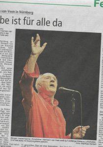 "Dasschreibdie NZ""- nürnebrger Zeitungüber das Herman van Veen-Gastspiel in Nürnberg"