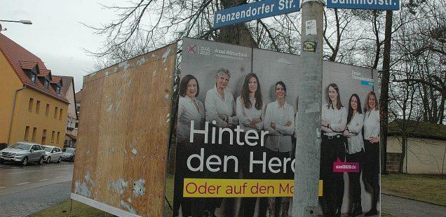 """Schwabach-Boulevard: Wahlkampf - Plakate-""""Schlacht"""" hat begonnen, OB-Kandidatin Krieg verschwunden/Viel Lob für Eisbahn-Kümmerer/Kneipenfieber  am 14. März!!!"""