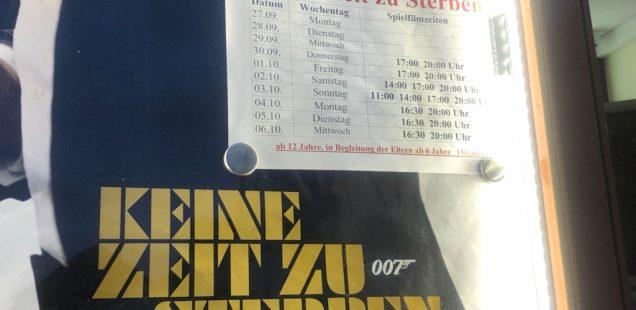 """Schwabach-Boulevard/szene.Franken: Im Luna-Kino und bundesweit Premiere. Der neue James Bond-Film mit Daniel Craig """"Keine Zeit zu sterben...."""" Sting 70"""